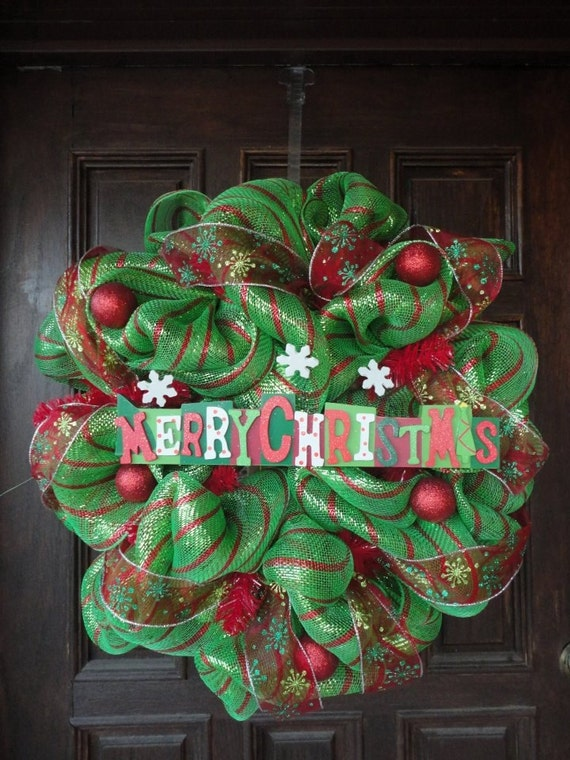 Red/Green Striped Christmas Deco Mesh Wreath
