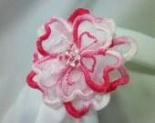 Pink Flower Hair Clip Barrette Embroidered Swarovski Crystal Embellished