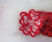 Red Infant Baby Headband White Feather Embroidered Organza Flower Fascinator Swarovski Crystal Embellished