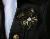 Gold Black Brooch Embroidered Flower Pin Swarovski Crystal Embellished Jewelry