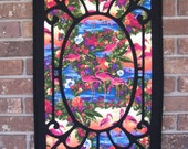 SALE - MARKED DOWN - Pink Flamingo Quilted Stained Glass Wall Hanging