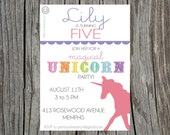 Unicorn Rainbow Party Printable Invitation