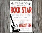 Printable Rock Star Guitar Birthday Party Invitation