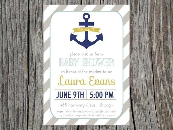items similar to nautical baby shower invitation anchor printable, Baby shower