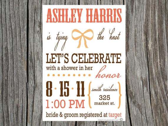 Printable Tying the Knot Bridal Shower Invitations
