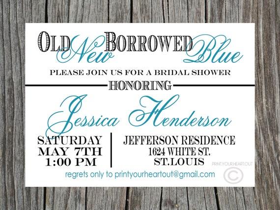 ... New Something Borrowed Something Blue Bridal Shower Invitation