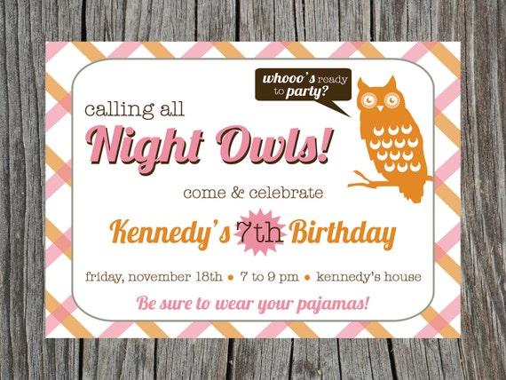 Items Similar To Printable Sleepover Birthday Party Invitation Invitations