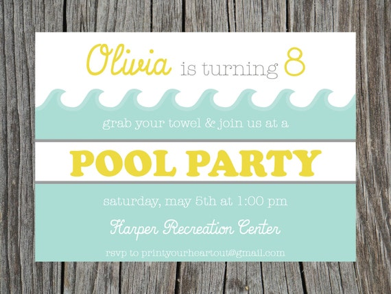Items similar to swimming pool party birthday invitation Swimming pool birthday party invitations