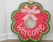 Hand-painted Wooden Door Decor Welcome Wreath
