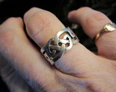 ON SALE - Heavy Celtic Tracery Ring in Sterling Silver