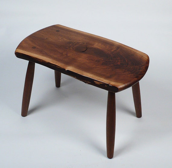 GARNY - Walnut Stool  with live edge - side table, coffee table, bench