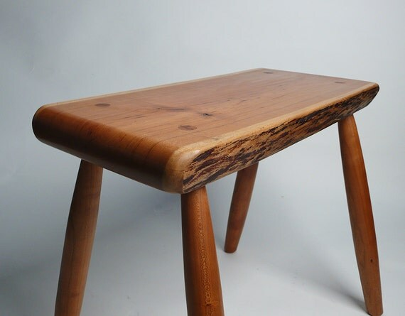 GARNY - Cherry Stool with live edge - side table, coffee table, bench
