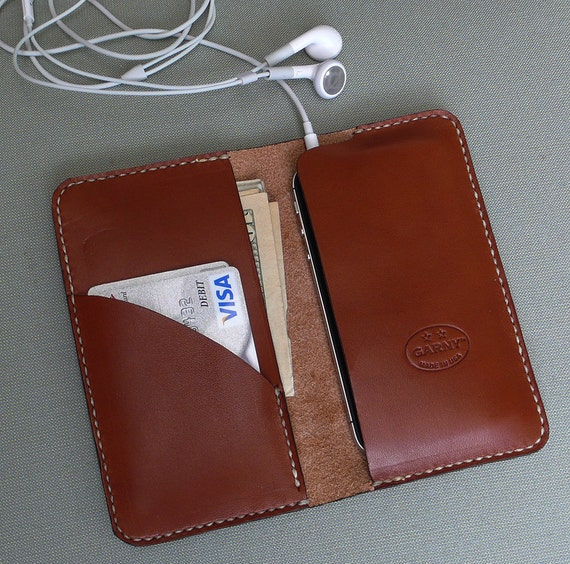 GARNY - iPhone 4S or 4 Leather wallet, Number 7,  Chestnut Brown  - for iPhone 4 or iPod touch - Free Shipping