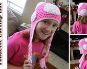 Adult Crocheted Pink Toadette Ear-Flap Hat Ready to Ship