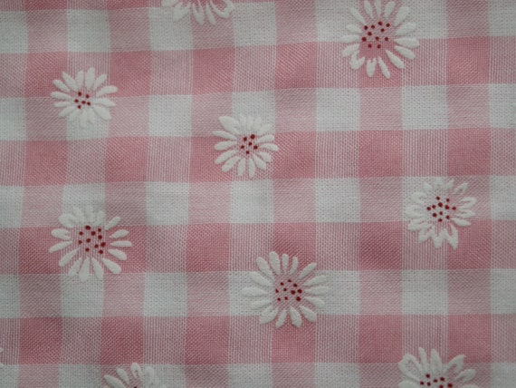 Pretty pink embroidered gingham fabric by styledrawer on etsy