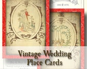Vintage Wedding Folding Place Cards - Digital Collage Sheet- victorian wedding table cards red brown tattered