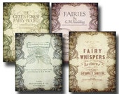 Vintage Fairy Book Pages FULL PAGE Backgrounds - Set of 4 Digital Downloads