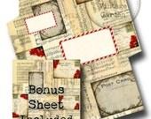 Printable Christmas Envelope with BONUS 8.5 x 11 Sheet - vintage sheet music poinsetta postcards
