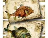 Silly Fish Postcard ATC's - Digital Collage Sheet