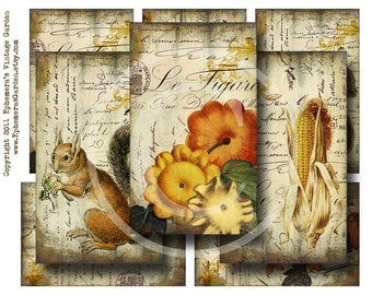 Autumn Harvest Hang Tags - Digital Collage Sheet