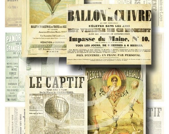 French Balloon Ephemera ATC/ACEO - Digital Collage Sheet