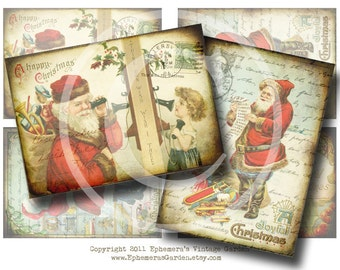 Vintage Santa Claus Hang Tags - Digital Collage Sheet