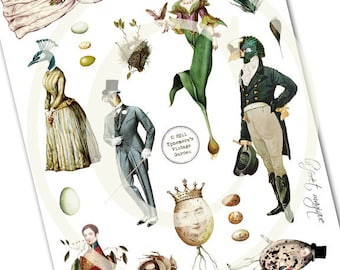 The Enchanted Woods Elements - Botanical Ladies and Gents - Digital Collage Sheet