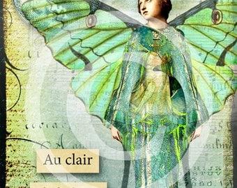 Luna Fairy - 5 x 7 Digital Collage Art - Download