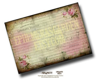 Tattered Rose 5 x 7 Journal Page Insert - printable journal