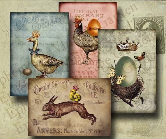 Vintage Easter Bunny And Friends- Digital Collage Sheet- altered art hang tags greeting card craft supplies scrapbooking nest eggs French