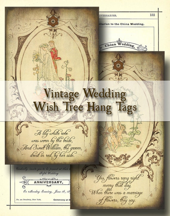 Vintage Wedding Wish Tree Tags - Digital Collage Sheet