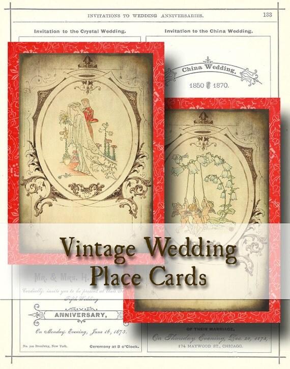 Vintage Wedding Folding Place Cards Digital Collage Sheet