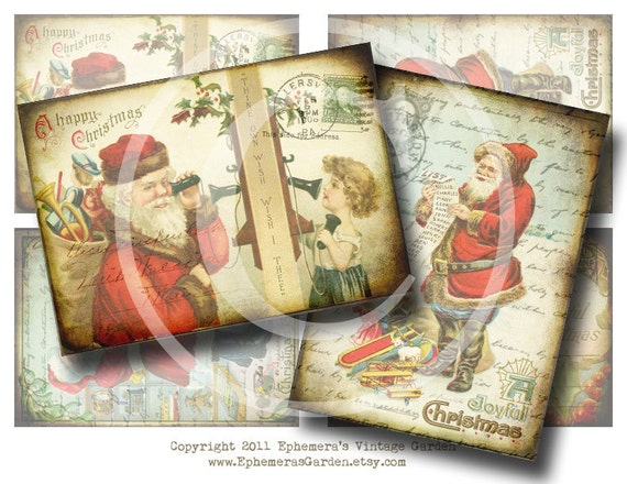 Vintage Santa Claus Hang Tags - Digital Collage Sheet
