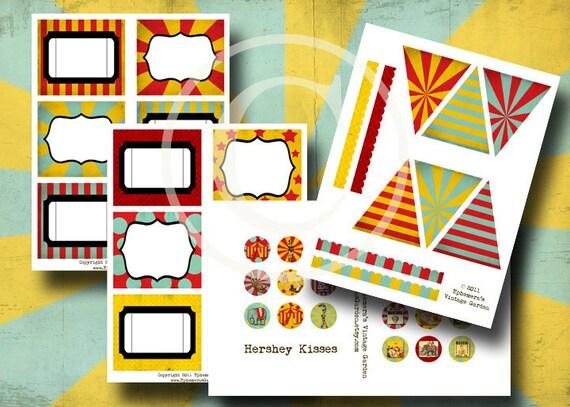 Vintage Circus Party Printables - Digital Collage Sheet Set