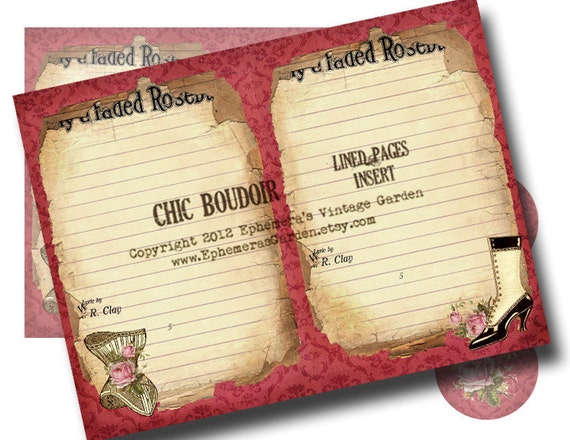 Chic Boudoir - Lined Pages Insert for Printable Journal Kit
