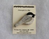 Chickadee Pin - Stoneware - Made in Maine by Caryn Burwood of Concepts in Clay