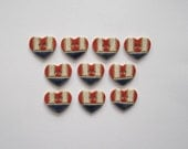 Patriotic Heart Buttons - Handcrafted Stoneware - Made in Maine by Caryn Burwood of Concepts In Clay