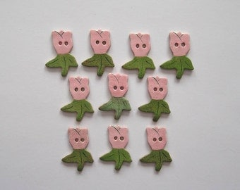 Tulip Buttons - Handcrafted Stoneware - Made in Maine by Caryn Burwood of Concepts In Clay