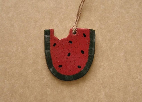 Watermelon Ornament - Stoneware - Made In Maine by Caryn Burwood of Concepts In Clay