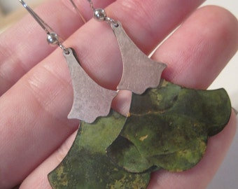 Patina & Ox Silver Gingko Earrings by Perfectly Paired Jewelry