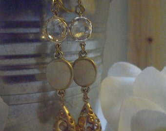 JOSIE--White Druzy Dangle Earrings by Perfectly Paired Jewelry