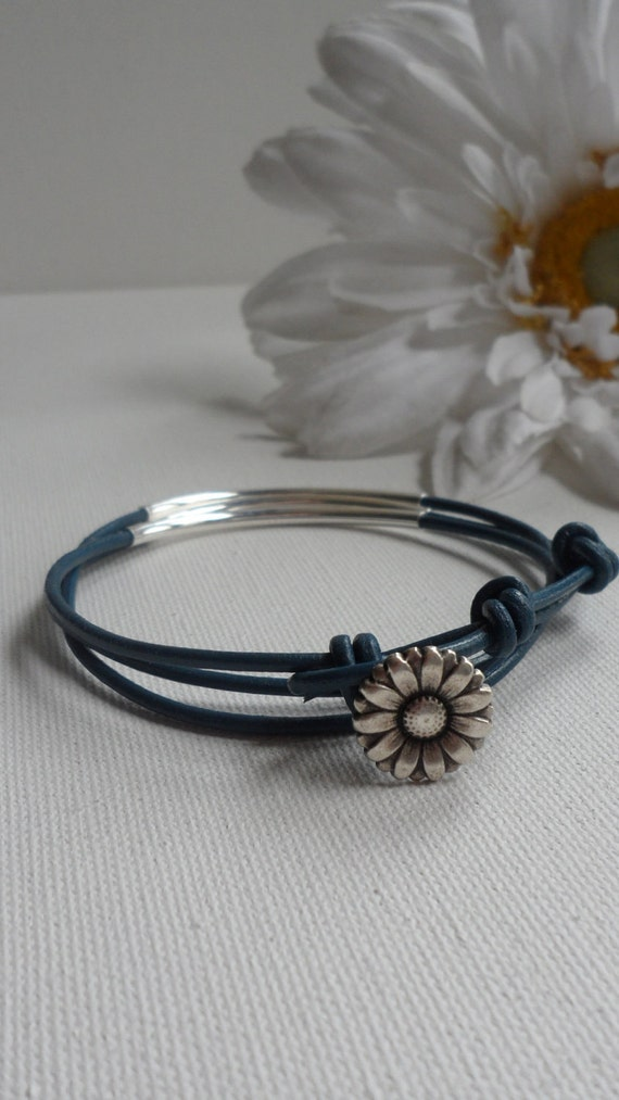 Little Daisy Leather Triple Wrap Anklet by Perfectly Paired Jewelry