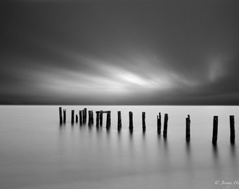 black and white fine art print of an abandon Dock or pier on Cape cod