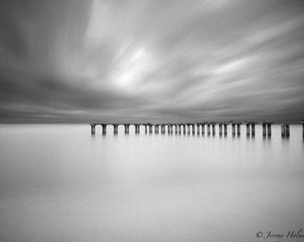 fine art black and white print of an abandon pier on Boca Grande island in Florida