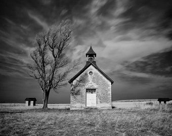 Abandon 1 room school house in Kansas. fine art photography print