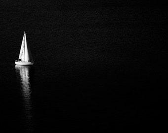 sail boat  black and white fine art photography print