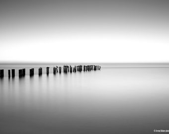 black and white fine art photography print of an abandon pier in naples, Florida