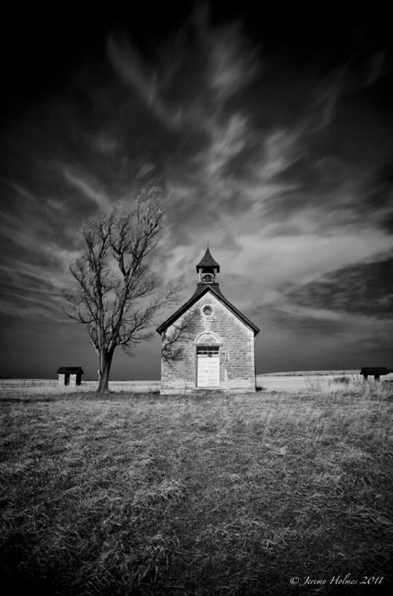 Abandon 1 room school house in Kansas. fine art photography print
