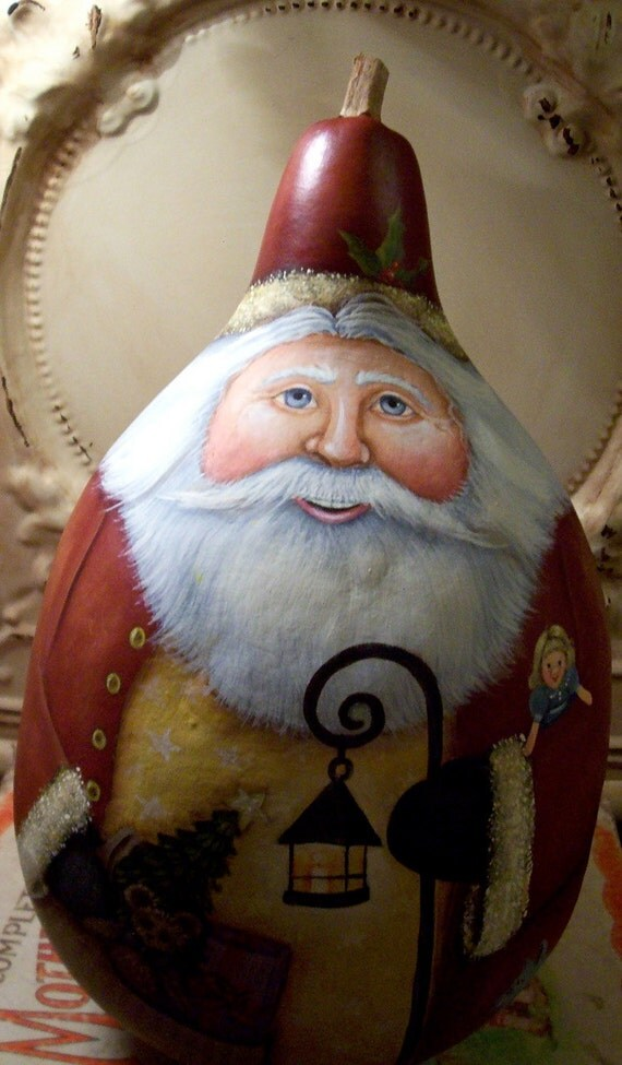 Santa Folk Art Christmas Original One Of A Kind Hand Painted
