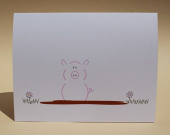 Pig in a Mud Puddle - Single Blank Note Card - Customizable